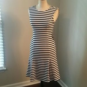NWT Black & White Striped Flared Hem Dress